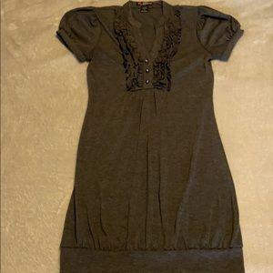 Super Cute Dark Gray Fitted Juniors Dress